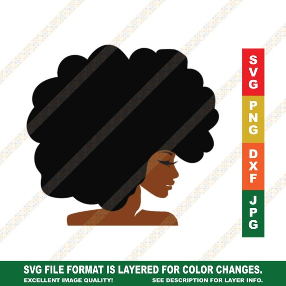Big Afro Woman Svg Black Girl Clipart Cricut Or Silhouette Cut Etsy