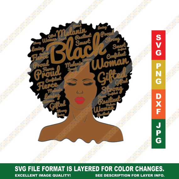 Words In Afro Art Brown Letters Black Woman Melanin Svg Png Etsy