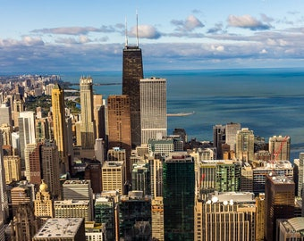 Chicago Skyline | Affordable Prints| Skyline | Fine Art Photography | Blue Skies | Photo Prints | Lake Michigan | Gift | Chicago | Photo