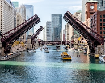 Chicago Skyline | Affordable Wall Art | Chicago River | Water Taxi | Chicago Bridge | Chicago Photo | Chicago Photography | Chicago | Gift