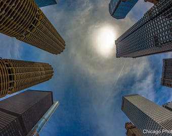 Chicago | Chicago Architecture | Architecture | Skyline | Fisheye | Wall Art | Fine art photography | Home decor | Art print