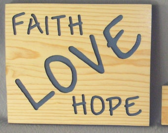"""Faith-Hope-Love-Welcome - set of 2 signs, scripture, home decor, rustic wood signs, carved wood signs, """"WELCOME"""" wood sign"""