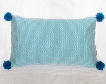 Handmade woven pom-pom cushion (large)