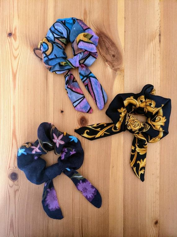 Vintage Scarf Bow Scrunchie
