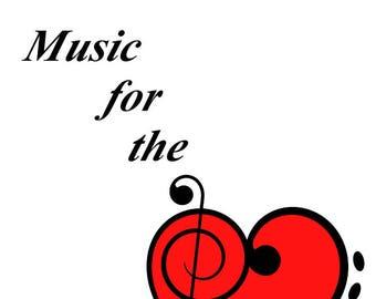 "Music for the Heart 8x10"" Digetal, Music, Art, Heart"