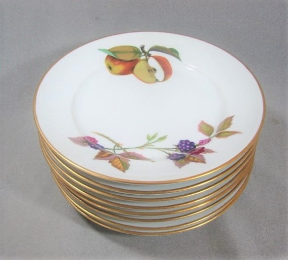 """Set Of 4 Royal Worcester Watteau 6 1//8/"""" Bread And Butter Plates England"""