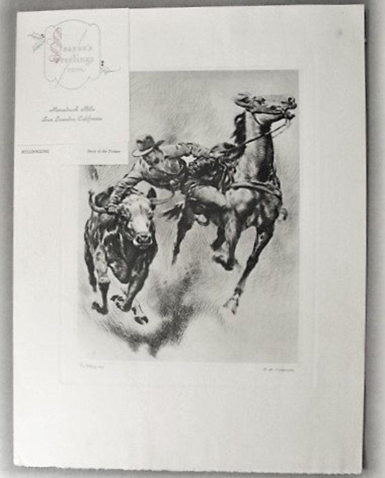 BULLDOGGING Etching by R H Palenske Talio-Chrome ca 1945
