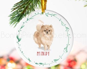 pomeranian dog christmas tree ornament