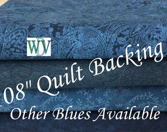 """108"""" Quilt Backing - Dark Blue Assortment - 3 Yards  -  Queen Size - Multiple Patterns - 100% Cotton - FREE SHIPPING!!!"""