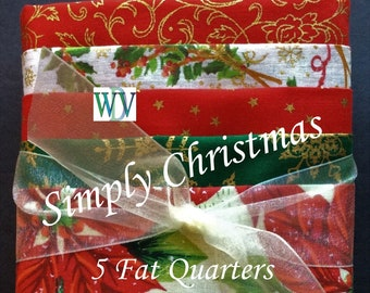 """Stash Builder Bundle  """"Simply Christmas""""  5 Pc Asst. of Red and Green Quilt Fabrics – Fat Quarter Bundle – 100% Cotton Fabric FREE SHIPPING"""