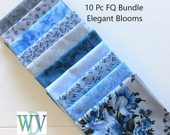 10 Piece Fat Quarter Bundle Elegant Blooms with shades of Gray and Ice Blue Coordinates - FREE SHIPPING