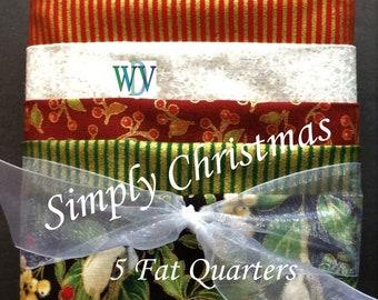 "Stash Builder Bundle –""Simply Christmas"" - 5 Pc Assortment of Christmas Fabrics – Fat Quarter Bundle – 100% Cotton  Fabric FREE SHIPPING"