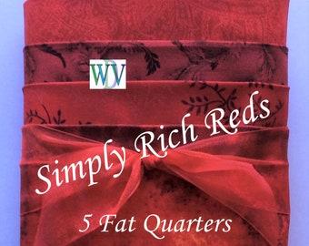 "Stash Builder Bundle –""Simply Reds"" - 5 Pc Assortment of Red Quilt Fabrics – Fat Quarter Bundle – 100% Cotton Quilt Fabric  FREE SHIPPING"