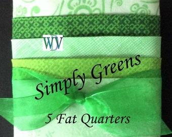 "Stash Builder Bundle –""Simply Greens"" - 5 Piece assortment of Green Fabrics – Fat Quarter Bundle – 100% Cotton - FREE SHIPPING"