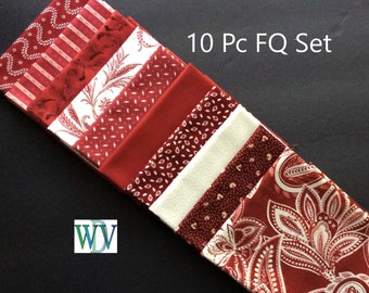 Fat Quarter Bundle - Burgundy and Cream – 10 Pieces - 100% Cotton - FREE SHIPPING