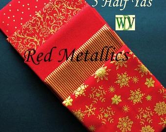 Red Metallic Christmas Fabric Bundle - 5 Half Yard Cuts - Stash Builder - 100 Percent Cotton Quilt Fabric