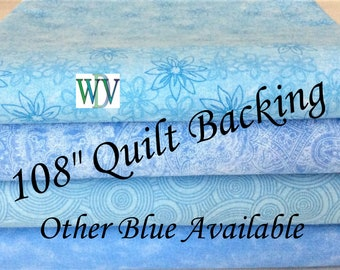 """108"""" Wide Quilt Backing Fabric – Light Blue Assortment - 3 Yards – 108"""" x 108""""- Queen Size – Other Blue Designs Available - FREE SHIPPING"""