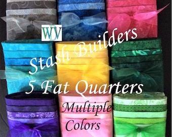 Stash Builder Bundle – 5 Piece Assortment of Multi Color Fabrics – Fat Quarter Stasher Bundle – 100% Cotton Quilt Fabric - FREE SHIPPING
