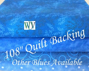 """108"""" Wide Quilt Backing Fabric – Bright Blue Assortment - 3 Yards – 108"""" x 108""""- Queen Size – Other Blue Designs Available - FREE SHIPPING"""