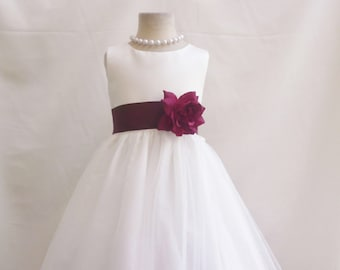 3601bbcb9d8 Ivory and Burgundy Wine Claret Flower girl dress with loose petals