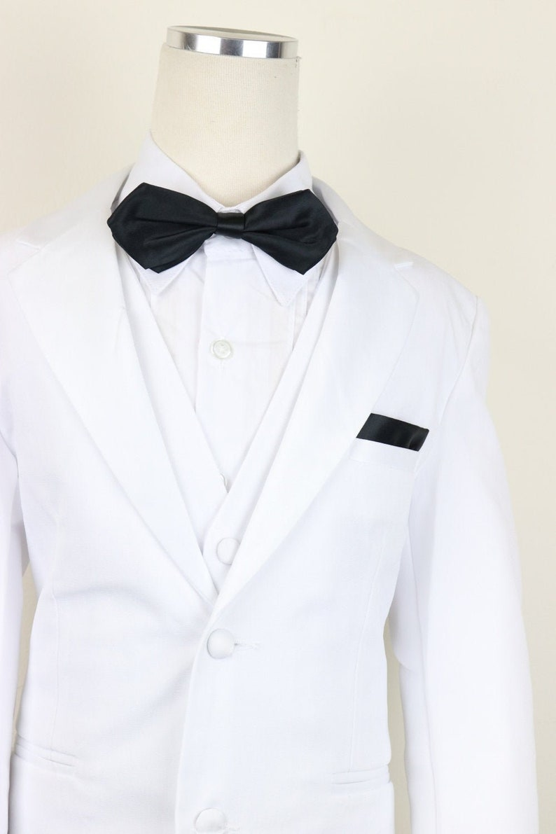 White and Black Boys Classic 2-tone button tuxedo suit with shiny lapel complete set with matching tie vest and pants