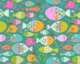 Fabric cotton American children - Go Fish by Maud Asbury - swim with fish green background - 50cm (110 x)