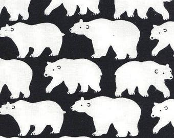 Kids Japanese Sevenberry fabric - Polar bear background black - by 50cm (110 x)