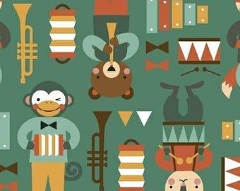 Child organic fabric - Party Animals - American organic cotton - Windham Fabrics designer Lorena Siminovich - musicians animals