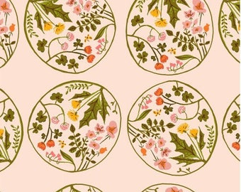 Kids fabric Tiger Lily - bubbles of pale pink flowers - American cotton by 50cm (110 x).