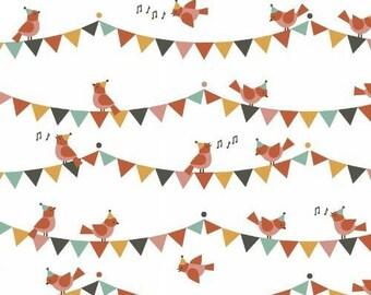 Fabric organic child - Party Animals - American organic cotton - Windham Fabrics designer Lorena Siminovich - garlands and birds