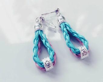 Earrings- pink/laguna blue leather earings
