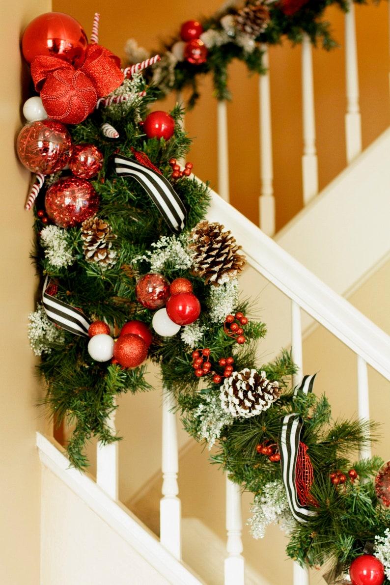 Christmas Garland Mantle Garland Fireplace Garland Staircase Stairway Railing Garland Pinecones Christmas Mantle Decor Christmas Decor