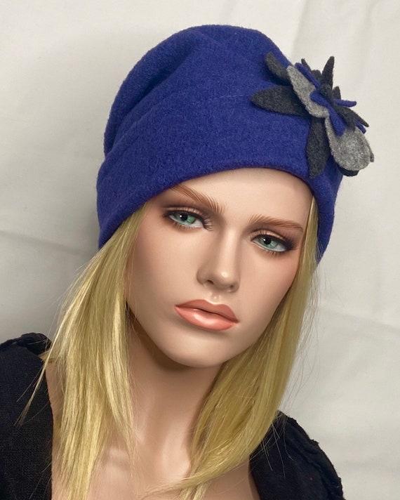 Boiled wool hat. Toque woman Women/'s Hat Emie Blue Royal Winter hat