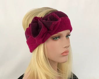 Anna Bordeaux/Fuchsia.Bandeau hair headband. Ear-warmer headband.