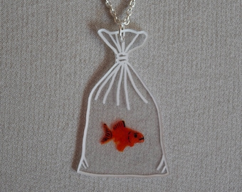Goldfish in Bag Necklace