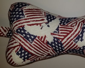 """Comfy Contoured Neck Pillow  """"We the People"""" Patriotic Red, White, and Blue with Flags - ORIGINAL"""