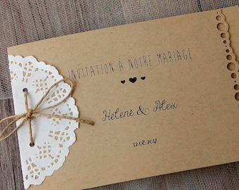 Wedding invitations, save the date, invitation card, wedding, chic, elegant, kraft, doily, understated, simple