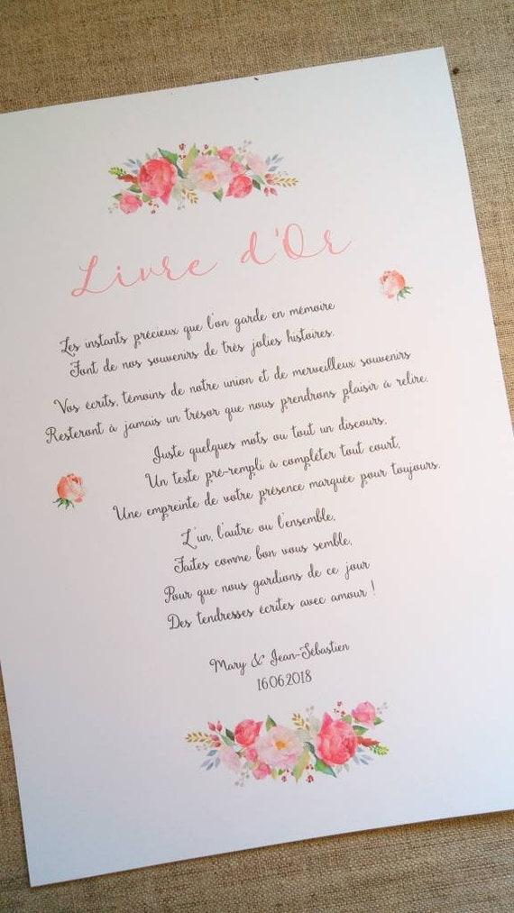 Affiche Mode D Emploi Avec Un Texte Personnalise Pour Livre D Or De Mariage