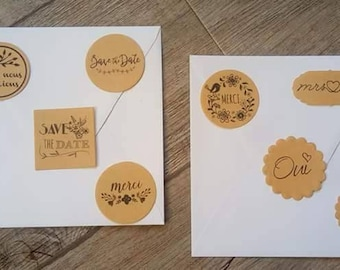 10 labels stickers in kraft or white to personalize your envelopes