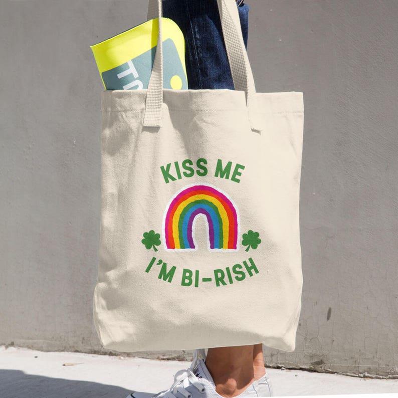 Patrick/'s Day Gift Cotton Tote Bag Kiss Me I/'m Bi-Rish Bisexual Irish Rainbow St