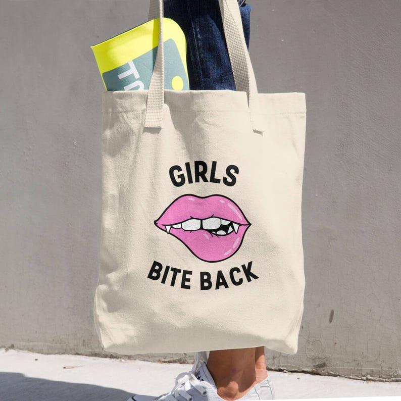 Girls Bite Back Funny Feminist Cotton Tote Bag