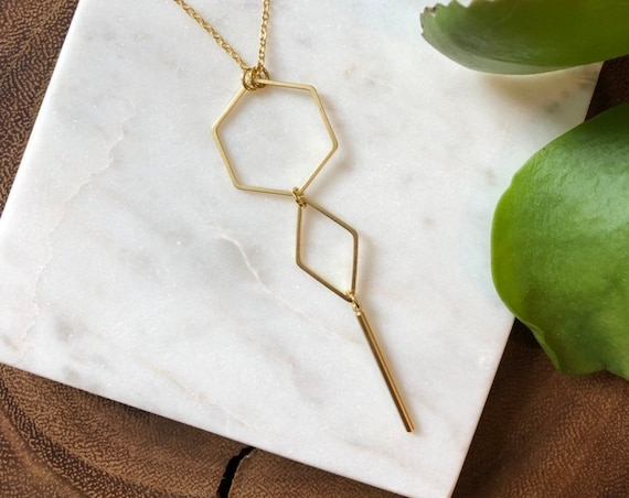 "Hexagon ""key"" necklace - gold"