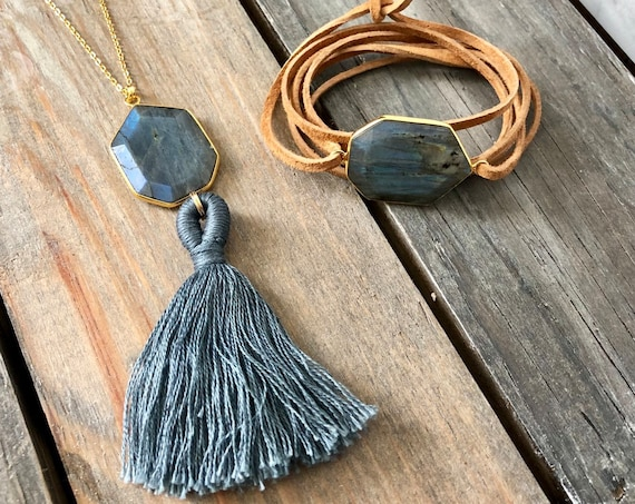 Labradorite gemstone necklace & bracelet set