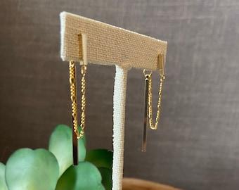 Gold chain loop earrings / hanging chain earrings / modern earrings / gold earrings / statement earrings / minimalist earrings