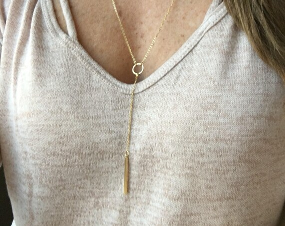 Lariat necklace - gold / silver