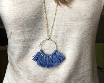 Tassel necklace / gold necklace / statement necklace / colorful necklace / geometric necklace / circle necklace / boho jewelry / necklace