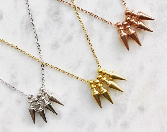 Small spikes necklace - gold, silver, rose gold