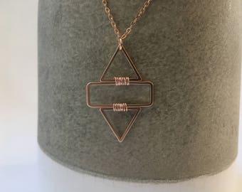 Arrowhead necklace / rose gold necklace / geometric necklace / triangle necklace / delicate necklace / minimalist necklace / dainty necklace