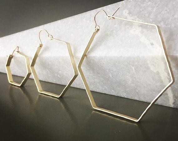 Gold hexagon hoop earrings