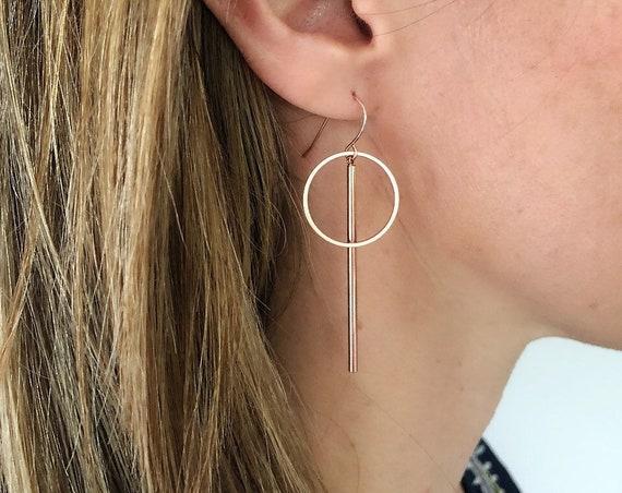 Rose gold circle bar earrings